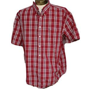 Tommy Hilfiger Shirt Short Sleeve Button Front Red